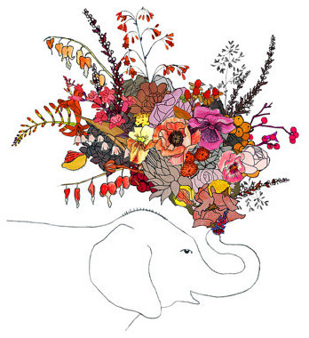 Elephant flowers 8x10 print by ChipmunkCheeks on Etsy eclectic artwork