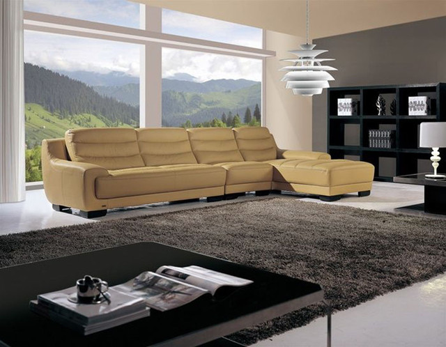 Fashionable All Real Leather Sectional contemporary-sectional-sofas