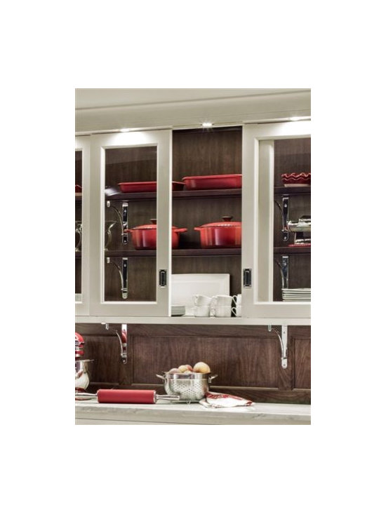 Trish Namm - Bypass Glass Cabinet Doors - by Quality Custom Cabinetry - available through Kent Kitchen Works