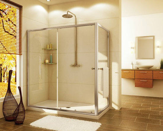 "Fleurco Banyo Amalfi In-Line RP 48"" x 36"" Frameless Sliding Door with Return Pan - Deluxe anti-jump smooth rolling system"