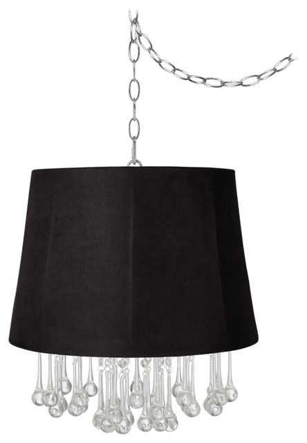 "Traditional Beatrix Crystal 16"" Wide Black Faux Suede Mini Chandelier traditional-chandeliers"