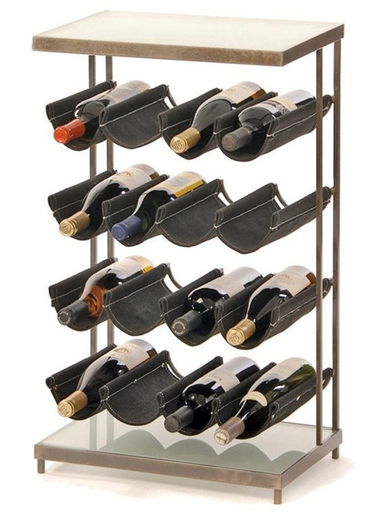 "Oenophilia - Oenophilia Hammock 16-Bottle Wine Rack Multicolor - 010050 - Shop for Wine Bottle Holders and Racks from Hayneedle.com! Give your wine collection a stylish place to hang out with the Oenophilia Hammock 16-Bottle Wine Rack. This floor-standing wine rack features four rows of canvas hammocks that keep 16 bottles neat and easily accessible. The canvas slings are securely held in place by a durable metal frame finished in gun-metal gray. The sleek base and top feature thick glass panels to create a handy table for your stemware wine accessories and more. About OenophiliaWith a name Greek in origin meaning ""the love of wine "" Oenophilia delights in fulfilling its mission to bring together products that allow others to love wine with the passion that Oenophilia does. After creating their first product in 1983 the Oenophilia team has continued to produce and manufacture superior wine accessories and is known as one of the leading wholesale suppliers of wine accessories and gifts in the U.S. Although located in Hillsborough NC traveling the world has allowed Oenophilia to provide customers with a premium extensive collection of wine accessories including openers wine racks glassware and gifts. Oenophilia carries their signature line of original designs and packaging as well as exceptional brands such as Vacu-Vin Metrokane Rogar Srewpull and Spiegelau. Bringing eclectic wine products competitive pricing and responsive customer service to the table is the Oenophilia team's way of sharing their passion while achieving their goal of providing customers with a luxurious one-stop shopping experience."