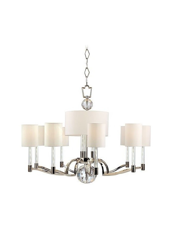 """Hudson Valley Lighting - Hudson Valley Lighting   Waterloo 12 Light Chandelier - Design by Hudson Valley, 2012.The Waterloo 12 Light Chandelier offers a strong silhouette enhanced by the use of lustrous materials and plentiful detail. Cut-crystal prisms scatter the warm light of twelve glass-sleeved candlesticks, refracting a playful cast of light across the mirror-finish of the fixture's Polished Nickel surfaces. Thoughtful details like the white cloth wiring inside the transparent glass sleeves and streamlined arms and holders keep the design grounded and elegant. Candle cup shade attachments. Supplied with a 54"""" chain."""