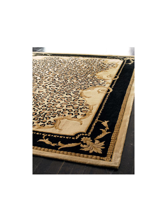 "Horchow - ""Delicate Leopard Leaf"" Rug - Hand-tufted and hand-carved wool rug has a fun design with sophisticated scrolls mixed with leopard print. Imported. Sizes are approximate. We recommend using a rug pad with every indoor rug to prolong its beauty by minimizing everyday wear and tear...."