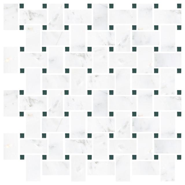 Hampton Carrara Basketweave Mosaic traditional-tile