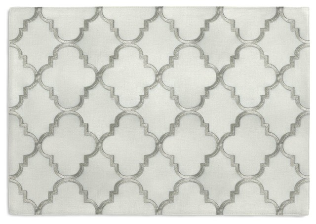 Silver Embroidered Quatrefoil Custom Placemat Set contemporary-placemats