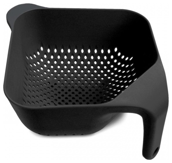Square Colander, Black, Large modern-colanders-and-strainers