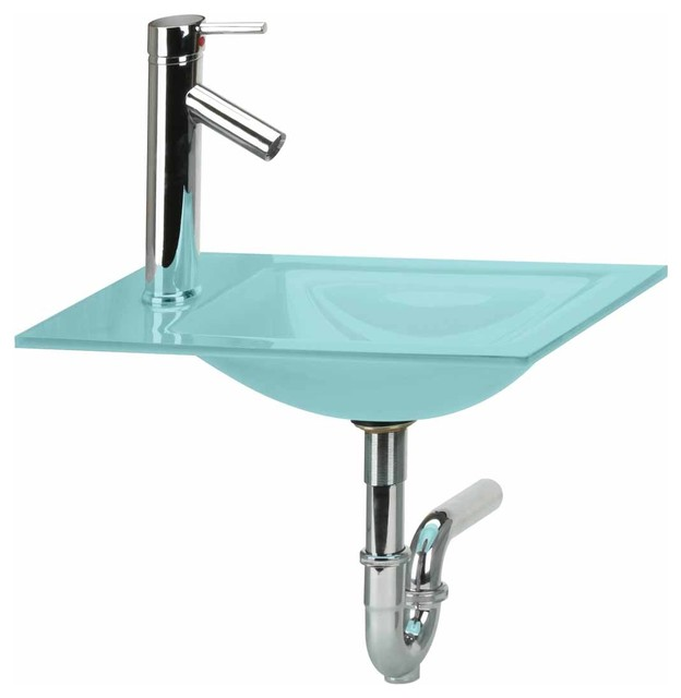 Counter Sinks Light Green Tint Glass Counter Sink/Faucet/P-trap ...