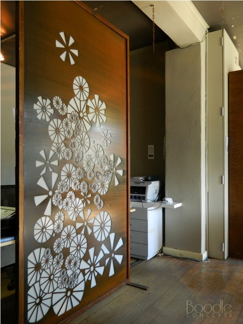 Corten steel privacy screen design by Boodle Concepts modern-home-office