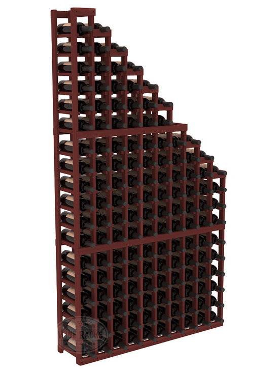 Wine Cellar Waterfall Display Kit in Redwood with Cherry Stain - A beautiful cascading waterfall of wine bottle displays. Create a spectacle of 9 of your favorite vintages. Designed within our modular specifications and to Wine Racks America's superior product standards, you'll be satisfied. We guarantee it.