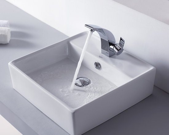 "Kraus C-KCV-150-14701CH White Square Ceramic Sink and Illusio Basin Faucet - APPLY COUPON CODE ""EDHOUZ30"" AT CHECKOUT. JUST OUR WAY OF SAYING THANKS."