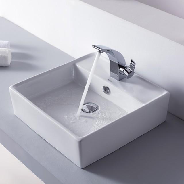 ... Square Ceramic Sink and Illusio Basin Faucet modern-bathroom-sinks