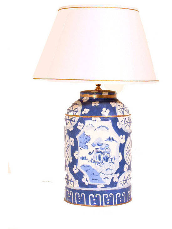 Canton in Blue Tea Caddy Lamp -