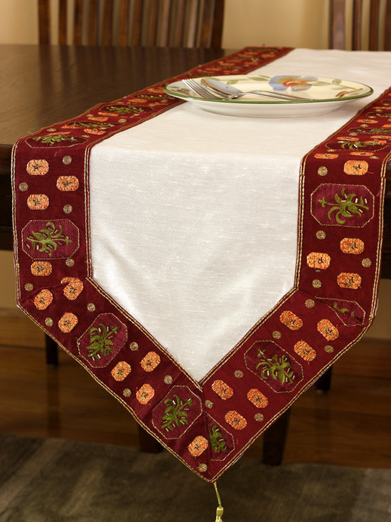 """Elegant Table Runners - Striking """"Glamorous Border Table Runner"""" Cherry Vanilla color. Hand crafted in India. Red Beige"""
