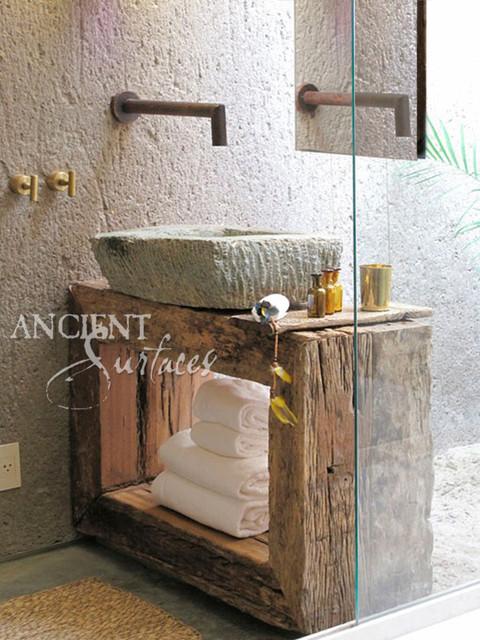 Antique Limestone and Marble Sinks mediterranean-bathroom-sinks