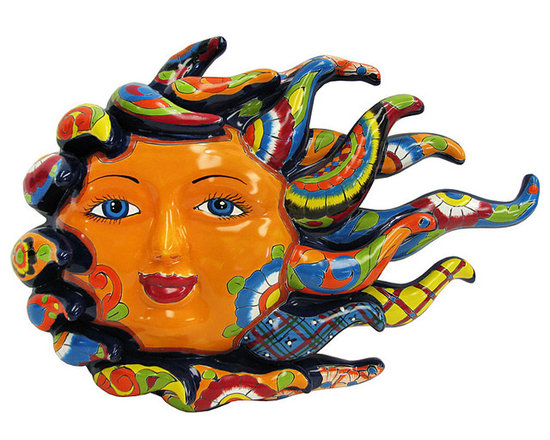 Talavera Home Accessories - Handmade of clay in the classic Talavera style and then hand-painted with vibrant, eye-catching colors, these Talavera Suns add a touch of the Southwest style to any decor. Each piece of Talavera wall art is made by skilled artisans outside of Dolores Hidalgo, Mexico, and personally chosen by the La Fuente team for its high quality and unique design. An eyelet located on the back of each sun makes them perfect for hanging in both indoor and/or outdoor spaces.