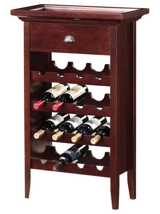 Coaster - Cherry Finish 16-bottle Wine Rack - Entertain in style with this classy wine rack. Crafted with a warm brown finish,it can store up to sixteen bottles of wine. The top is built as a serving tray and can easily be lifted off when entertaining.
