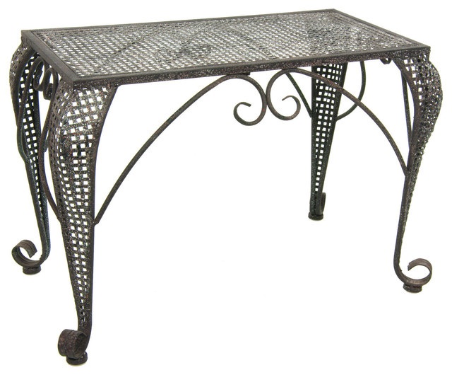 Foldable Wrought Iron Rustic Garden Table contemporary-outdoor-tables
