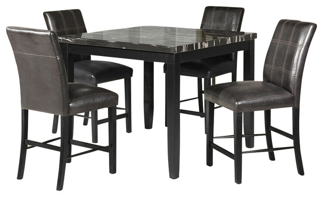 5 Piece Blythe Collection Square Black Finish Wood and  : contemporary dining sets from www.houzz.com size 640 x 390 jpeg 50kB