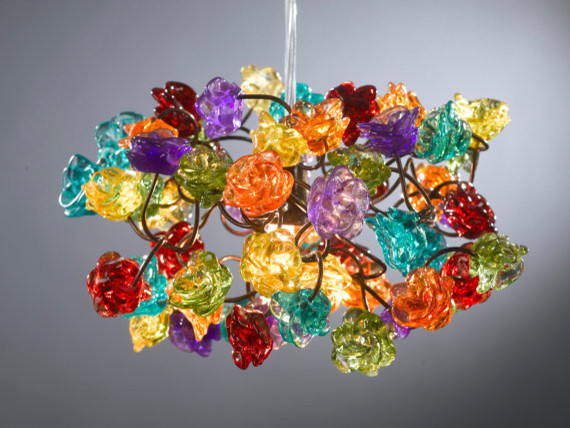 Colorful hanging ceiling lights : Ceiling light fixture rainbow color roses by flowers in