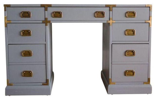 Vintage Campaign Style Desk Transitional Desks And