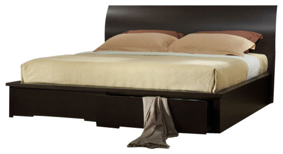 J M Zen Dark Brown Matte Finish W Black Handle Accents Queen Size Bedroom Set Modern