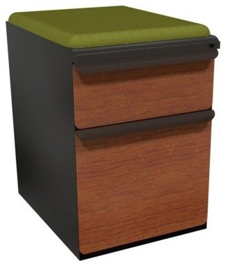 Mobile Pedestal with Fennel Fabric Seat and Laminate Front File Drawer / Storage - Modern ...