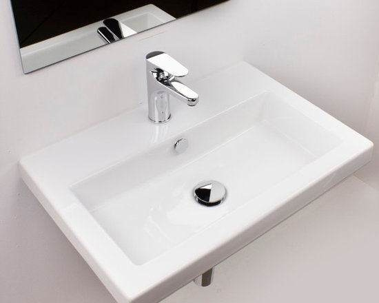 "Beautiful Wall Mount Ceramic Bathroom Sink - This beautiful wall mounted sink with overflow is made and designed in Italy. Sink is made of high quality ceramic. Sink dimensions: 31.5"" x 15.7"" x 5.5"""