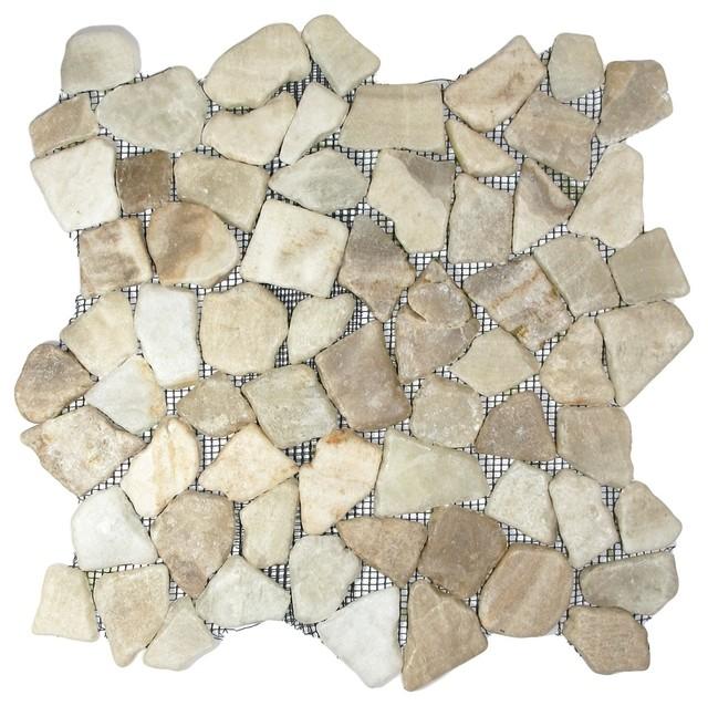 Glazed Mixed Quartz Mosaic Tile beach-style-tile