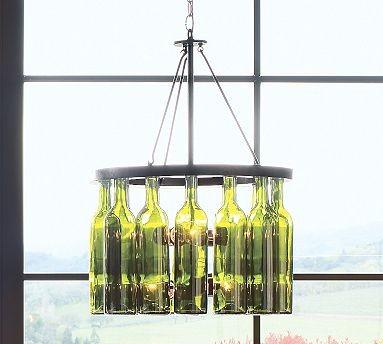 Wine Bottle 4-light Chandelier, Rasped Iron finish traditional-chandeliers