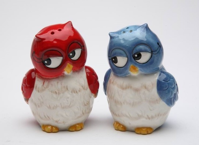 Red And Blue Owls Looking Sideways Couple Salt And Pepper Shakers Eclectic Salt And Pepper