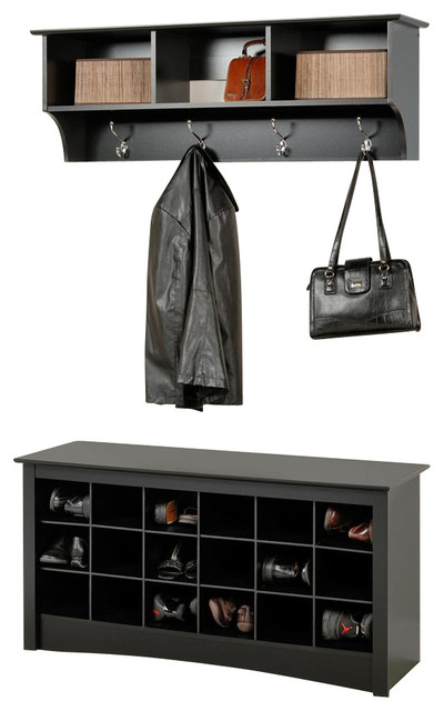 Entryway Wall Mount Coat Rack w Shoe Storage contemporary-accent-and ...