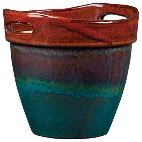 New England Pottery Wasabi Glazed Ceramic Planter asian-indoor-pots-and-planters