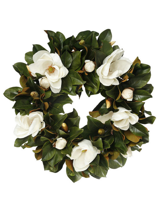 Winward Designs - Magnolia Bloom Wreath 30 inch - Our Timeless Magnolia Bloom Wreath perfectly showcases these white flowers. Welcome your guests with timeless beauty. Perfect on a large door or window.