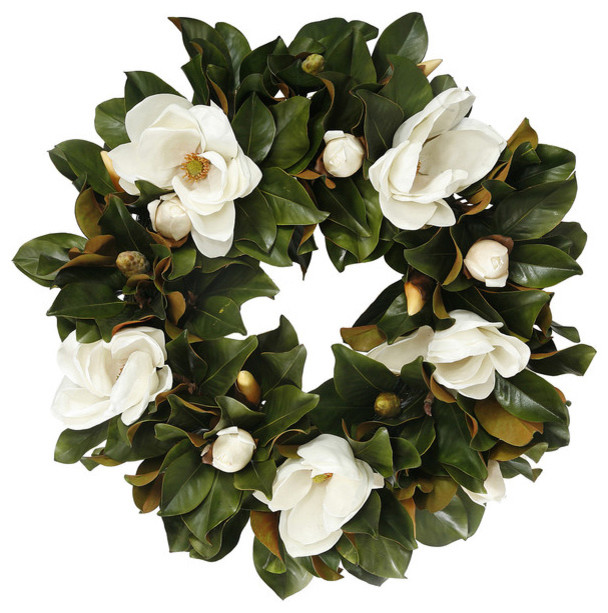 Magnolia Bloom Wreath 30 inch - Contemporary - Wreaths And Garlands ...