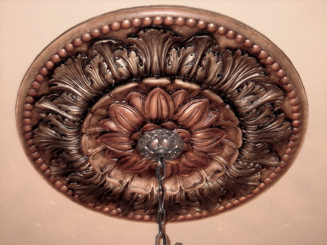 hand painted ceiling medallion mediterranean dining room