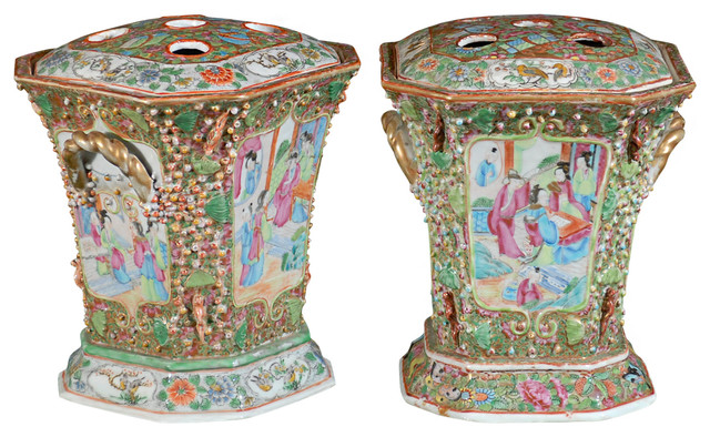 Consigned Pair of 19th C. Chinese Bough Pots traditional-home-decor