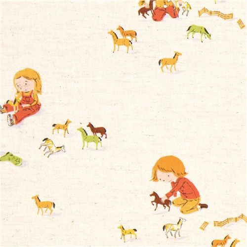 Heather ross canvas fabric child horses far far away 3 for Horse fabric for kids