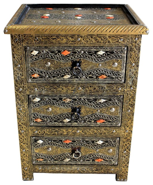 Moroccan 3-Drawer Metal and Bone Nightstand mediterranean-storage-units-and-cabinets