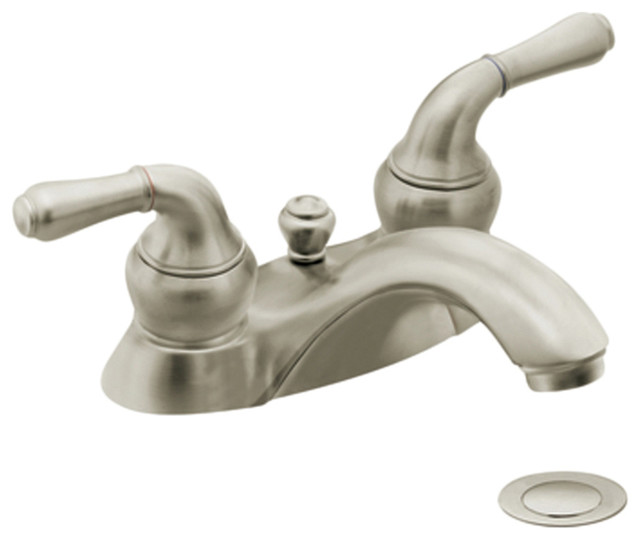 Moen 4551BN Brushed Nickel Bath Sink Faucet Two Lever Handle 4 Centerse
