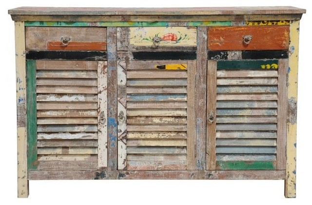 Classic Home Furniture Vintage Multi Colored Shutter Cabinet