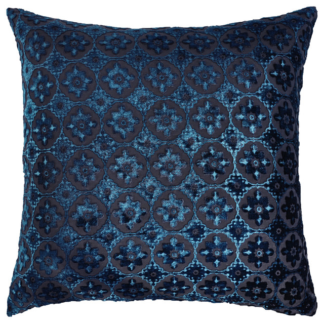 Small Moroccan Velvet Decorative Pillow in Cobalt Black - Contemporary - Decorative Pillows - by ...