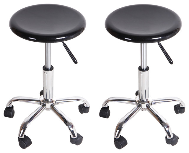 Adeco Round Black High Gloss Rolling Counter Stools Set  : contemporary bar stools and counter stools from www.houzz.com size 640 x 518 jpeg 49kB