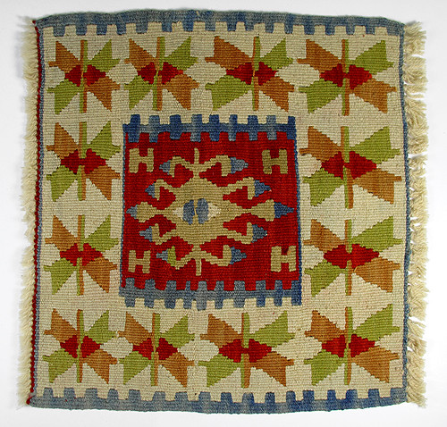 Mini Turkish Kilim Rug With Anatolian Patterns / Natural Color And Brick-Color mediterranean rugs