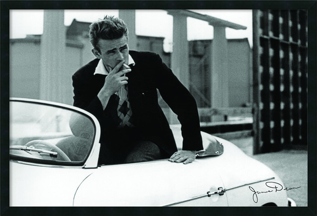 James Dean - White Car Framed with Gel Coated Finish traditional-prints-and-posters