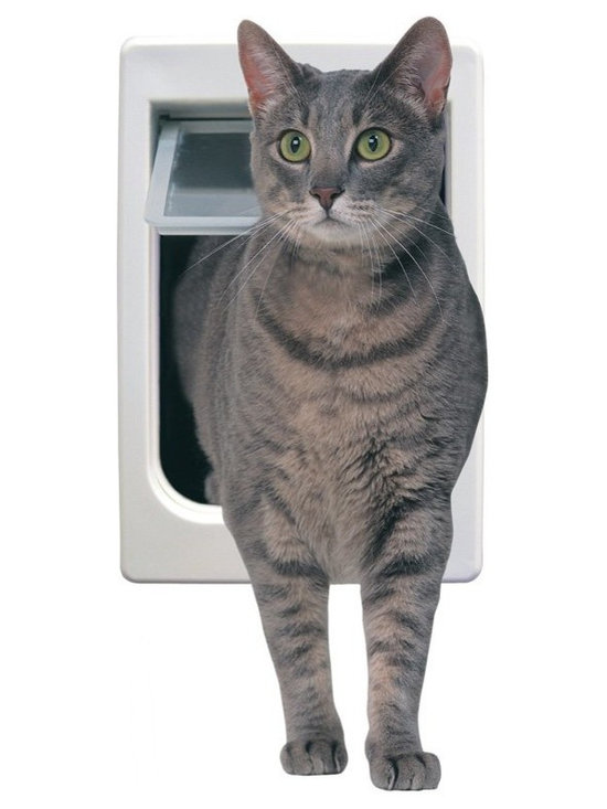 "Ideal - Ideal TubbyKat Storm Door Cat Door Multicolor - TK - Shop for Pet Doors from Hayneedle.com! ""She's not fat; she's fluffy "" ""He just has a stocky build."" We've heard - and used - all the excuses but some cats are just plain chubby. Now your chunk o' love can have his or her independence with our Ideal TubbyKat Storm Door Cat Door. Designed for larger cats it's made of sturdy thermoplastic (ABS) with a transparent unbreakable LEXAN flap with two-way operation. It's designed for exterior or interior use giving even ""fluffy"" feline friends the freedom they need. Limited lifetime warranty. Overall dimensions: 9.5W x 3.25D x 14.5H inches Flap dimensions: 7.5W x 10.5H inches Hole dimensions: 8.25W x 13.75H inches Suggested pet weight: Up to 25 lbs. About Ideal Pet Products Inc.In the beginning a hole an old piece of carpet and a couple of nails created the first access for your pet to go in and out. But there were drawbacks. It didn't stay closed well. Your pet couldn't see through it. And when it got wet it didn't smell so good. Enter technology. For more than 25 years Ideal Pet Products has assisted pet owners by offering unique and ingenious ways of providing indoor/outdoor access to their pets. The company provides various styles of pet access doors so you're sure to find one that meets your specific needs. Ideal Pet Products is also committed to conserving natural resources by designing products that are sensitive to your energy-saving needs. From the smallest dog or cat to the largest 160-lb. pet Ideal Pet Products has the right door for your home."
