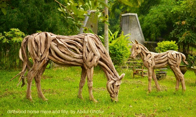 Driftwood sculptures traditional garden statues and Driftwood sculptures for garden