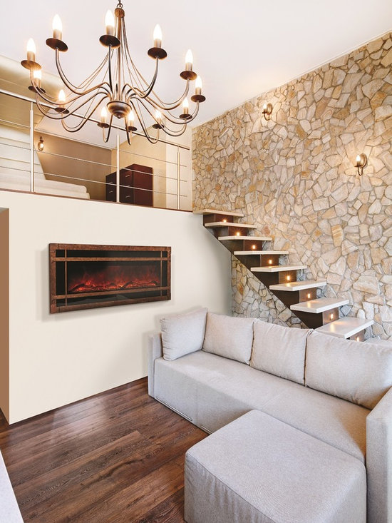 Amantii WM-BI-48-5823-BLKGLS with Sierra Copper surround - Jeanne Grier/Stylish Fireplaces & Interiors