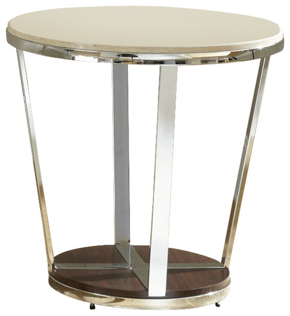 Steve silver company bosco faux marble round end table in for Round marble side table