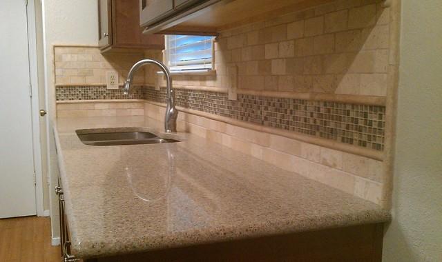 Kitchen Backsplash - Travertine Subway / Glass Mosaic - Traditional ...
